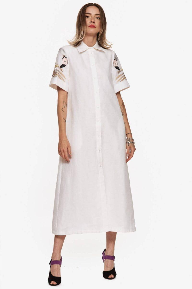 White Collar Flamingo Dress